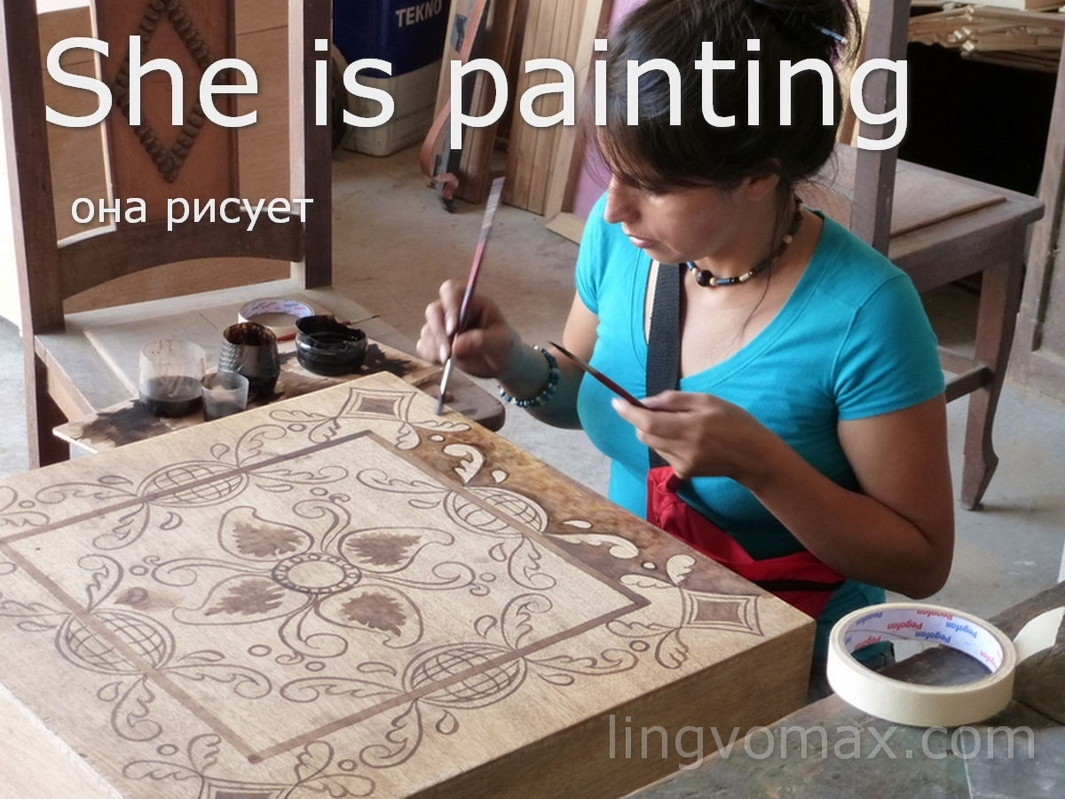 she is painting